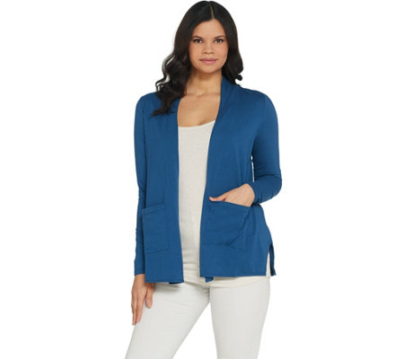 LOGO by Lori Goldstein Open-Front Cardigan With Pockets