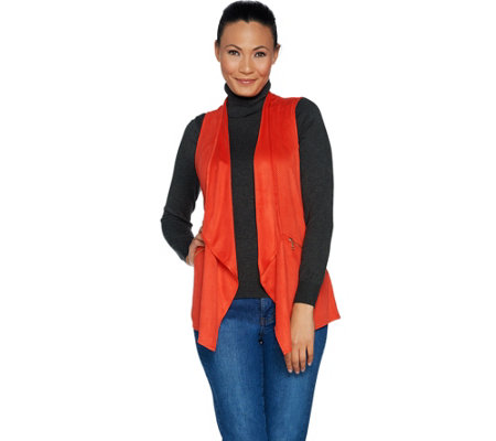 """As Is"" Susan Graver Faux Suede Open Front Vest"