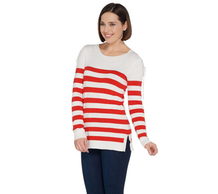 Attitudes by Renee Stripe Sweater with Lace-Up Shoulder Detail