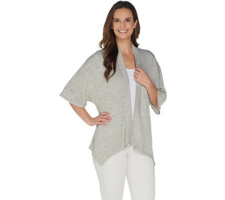 H by Halston Super Soft Kimono Open-Front Cardigan
