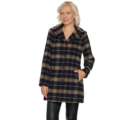 """As Is"" Joan Rivers Perfectly Plaid Swing Coat with Lining"