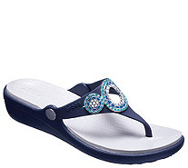 Crocs Thong Sandals - Sanrah Diamante Wedge Flip - A413170