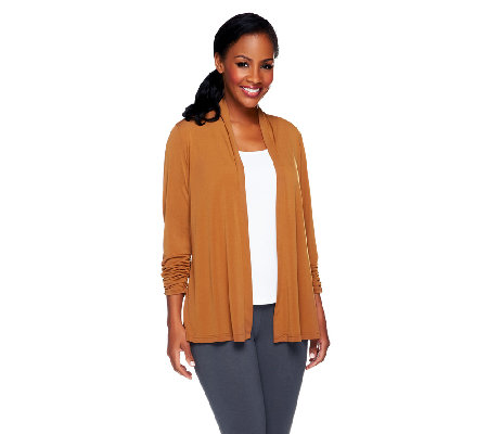 Susan Graver Liquid Knit Open Front Cardigan with Ruched Sleeves