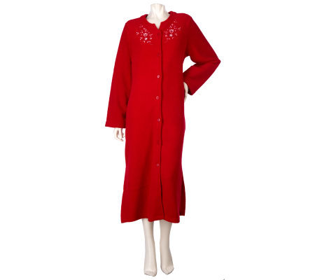 Carole Hochman Button Front Boucle Fleece Robe with Embroidery Trim