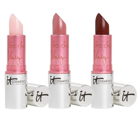 IT Cosmetics 4-in-1 Lip Flush Hydrating Lipstick Stain Classics Trio