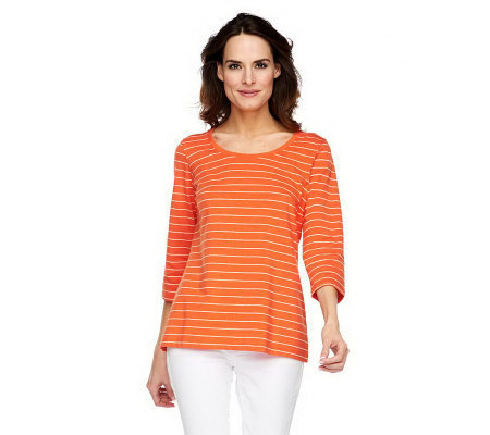 Susan Graver Weekend Cotton Modal 3/4 Sleeve Striped Top
