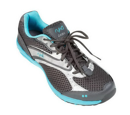 """As Is"" Ryka Leather & Mesh Lace-Up Fitness Walking Shoes"