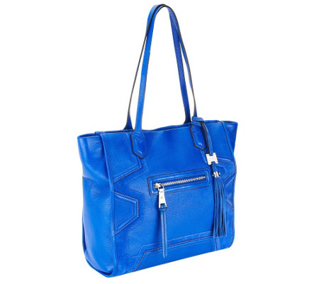 Aimee Kestenberg Pebble Leather Tote with Front Zipper Pocket