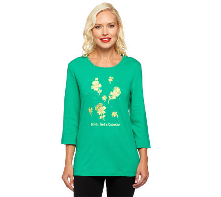 "Quacker Factory ""Irish I had a Cupcake"" 3/4 Sleeve T-shirt"