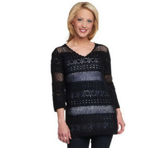 """As Is"" Denim & Co. V-Neck 3/4 Sleeve Crochet Sweater - A239471"