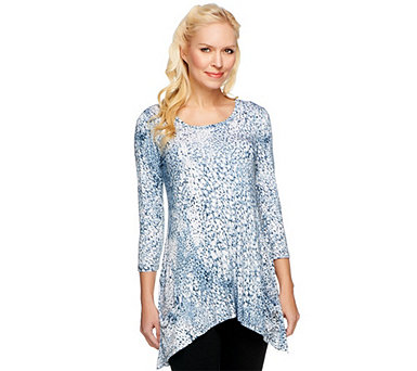 LOGO by Lori Goldstein Printed Knit 3/4 Sleeve Hi-Low Top - A251171
