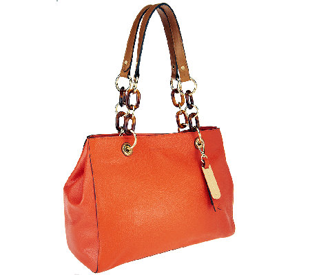 Emma and Sophia Pebble Leather Brandy Shoulder Bag with Tortoise Detail