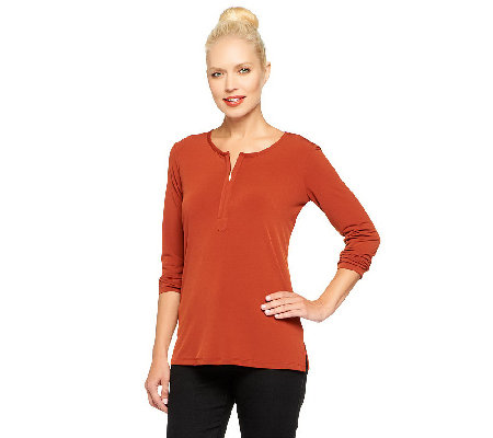 """As Is"" Susan Graver Liquid Knit Half Zip Top with Long Sleeves"