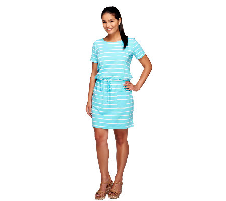 Susan Graver Weekend Striped Cotton Spandex Cap Sleeve Dress