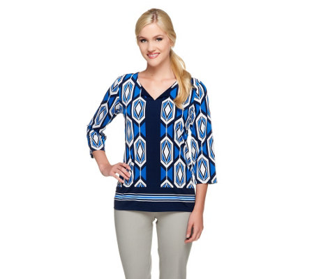 Susan Graver Printed Liquid Knit 3/4 Sleeve Top with Solid Trim