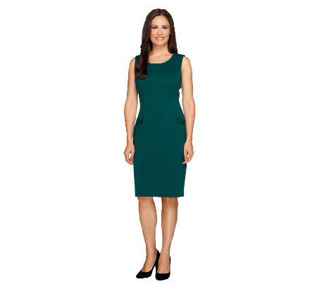 Joan Rivers Petite Ponte Knit Sheath Dress with Pockets