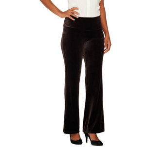 Women with Control Regular Tummy Control Velvet Boot Cut Pants - A258871