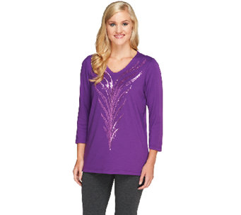 Bob Mackie's Feather Sequin Embroidered Top - A259071