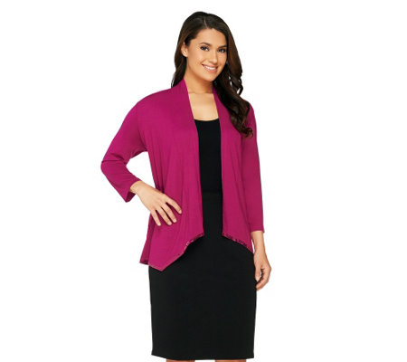 Joan Rivers Jersey Knit Waterfall Cardigan with Sequin Border