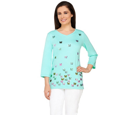 Quacker Factory Baby Butterflies 3/4 Sleeve T-shirt