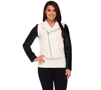 View by Walter Baker Jacket with Faux Leather Quilted Sleeves - A263071