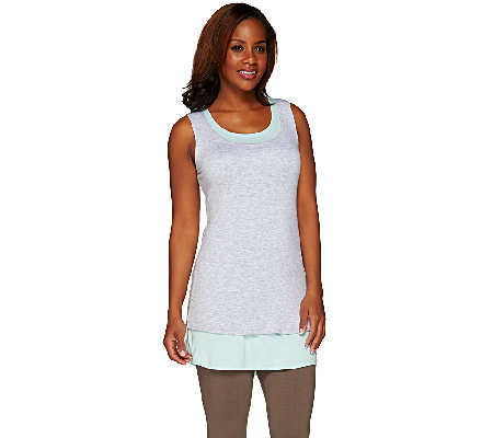 LOGO by Lori Goldstein Regular Heather and Solid Knit Tanks Twin Set