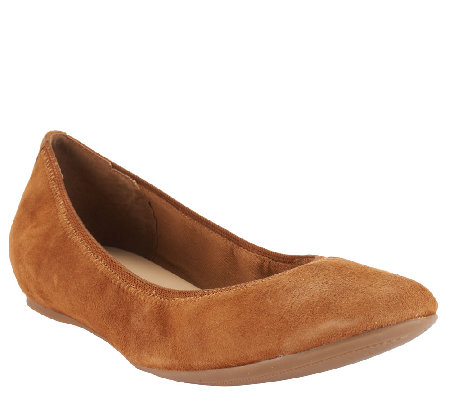 """As Is"" Isaac Mizrahi Live! Suede Flats with Hidden Comfort Wedge"