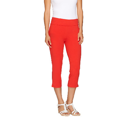 Women with Control Knit Capri Pants with Foldover Waist