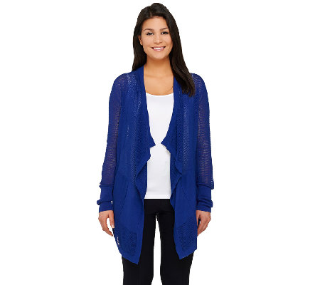 Lisa Rinna Collection Cascade Front Mesh Knit Cardigan