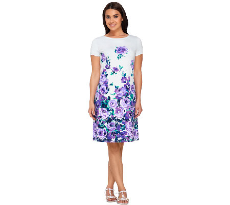 Liz Claiborne New York Floral Print Dress with Cap Sleeves