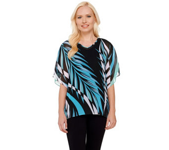 Bob Mackie's Printed V-neck Caftan Top and Knit Tank Set - A266371