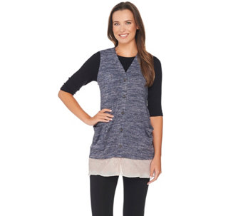LOGO by Lori Goldstein Sweater Knit Vest with Lace & Chiffon Hem - A266771