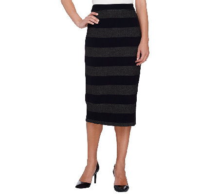 G.I.L.I. Stretch Twill Striped Pencil Skirt with Back Zip
