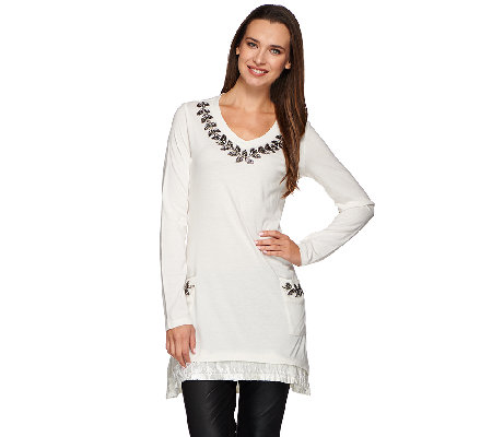 LOGO Lavish by Lori Goldstein Knit Tunic with Embellishment and Velvet Trim