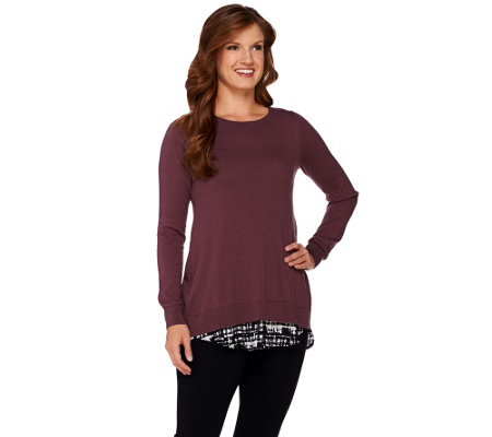 LOGO by Lori Goldstein Cotton Cashmere Sweater with Print Underlay
