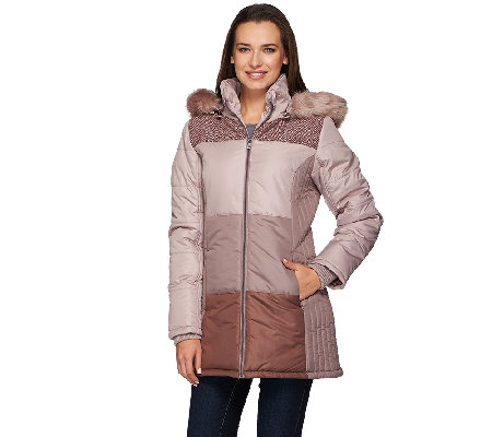 Liz Claiborne New York Puffer Coat with Faux Fur Trim