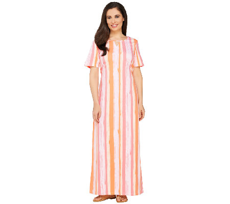 """As Is"" Denim & Co. Vertical Stripe Short Sleeve Maxi Dress"