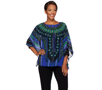 Bob Mackie's Printed Caftan Top and 3/4 Sleeve Knit Top Set - A271371