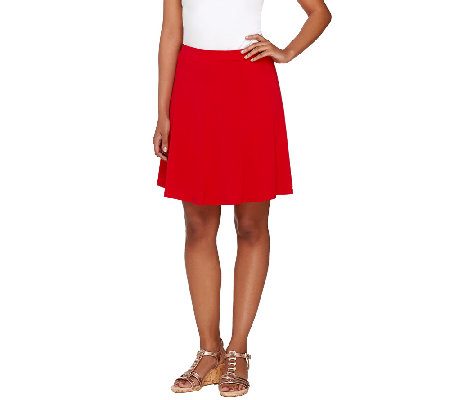 """As Is"" Susan Graver Liquid Knit 8 Gore Pull-On Skort"