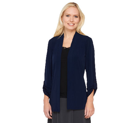 """As Is"" Susan Graver Liquid Knit Open Front Cardigan"