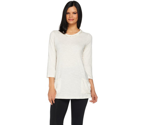 LOGO by Lori Goldstein Knit Top with Pockets and Sequin Trim