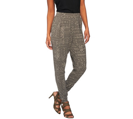 Lisa Rinna Collection Pull-On Printed Knit Pants