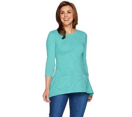 LOGO by Lori Goldstein Knit Top with Swiss Dot Back Detail