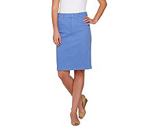Isaac Mizrahi Live! Knit Denim Pencil Skirt - A275471