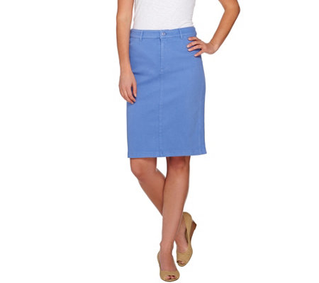 Isaac Mizrahi Live! Knit Denim Pencil Skirt