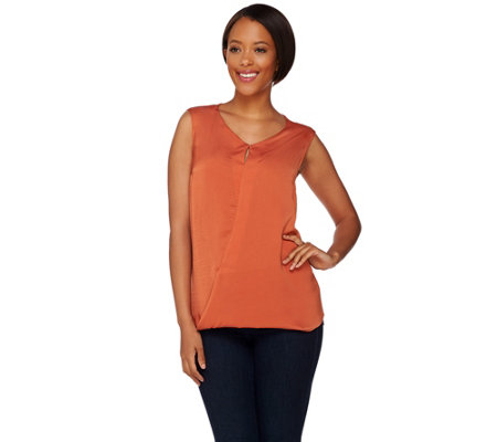 H by Halston Sleeveless Top w/ Front Keyhole Detail