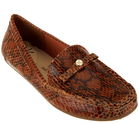 """As Is"" Isaac Mizrahi Live! Snake Embossed Leather Moccasins"