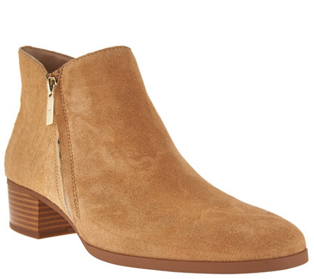 H by Halston Suede and Croco Pony Hair Booties - Lana
