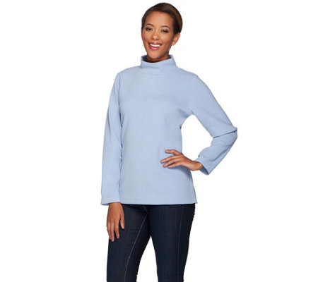"""As Is"" Denim & Co. Essentials Fleece Mock Neck Top"