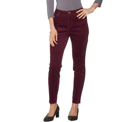 LOGO by Lori Goldstein 5-Pocket Skinny Corduroy Pants